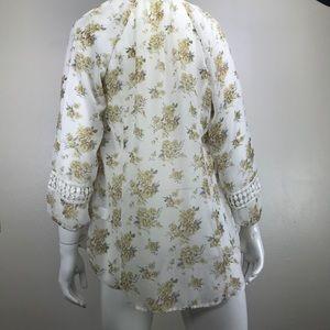 Daniel Rainn Tops - Daniel Rainn Floral Crochet Trim Peasant Blouse